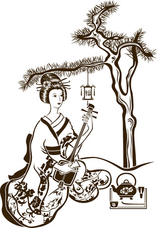 Traditional Japanese Geisha with Shamisen and tea on pine background Çizim