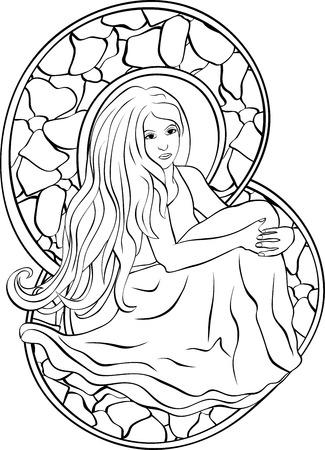 vetrate artistiche: Bella ragazza seduta, stencil in stile delle vetrate Vettoriali
