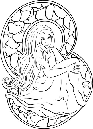 Beautiful sitting girl, stencil in style of stained glass Illustration