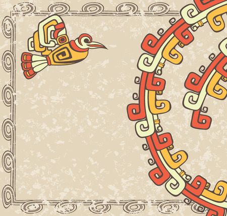 indigenous culture: Aztec style, bird and pattern on dirty background colored variant