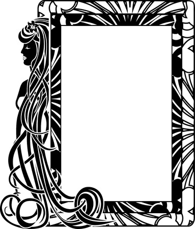 Ornamental frame in style Art Nouveau with long hair girl Vector