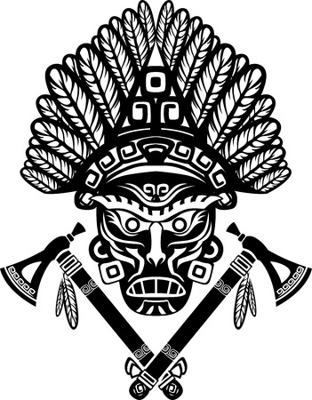 American Indian mask with headdress of feathers and crossed tomahawks Vector