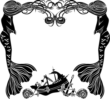 ships at sea: Frame, mermaids weep shipwreck, stencil for sticker Illustration