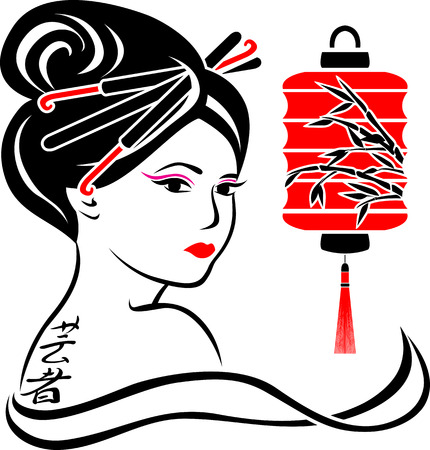 Geisha portrait poster, stencil for stickers second variant Illustration