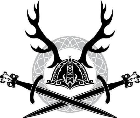 アントラーズとバイキングの剣、ステンシル ヘルメット  イラスト・ベクター素材