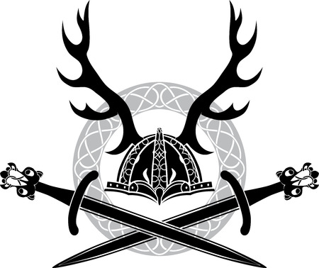 norse: Helmet with antlers and Viking swords, stencil Illustration