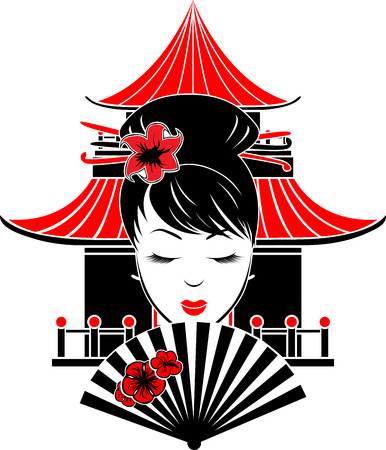 Portrait of Asian girl on background of traditional house stencil
