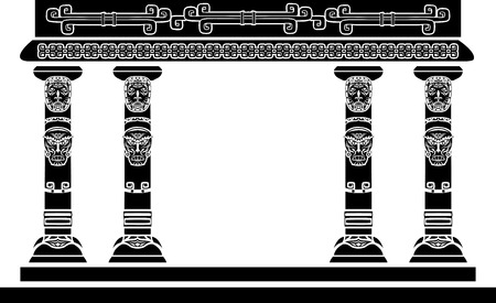 American Indian temple, columns with ritual masks Vector