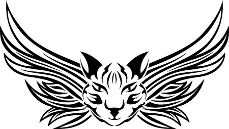 Head of cat with wings, tattoo stencil Vector