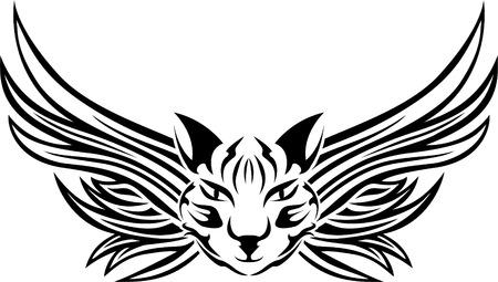 wings tattoo: Head of cat with wings, tattoo stencil