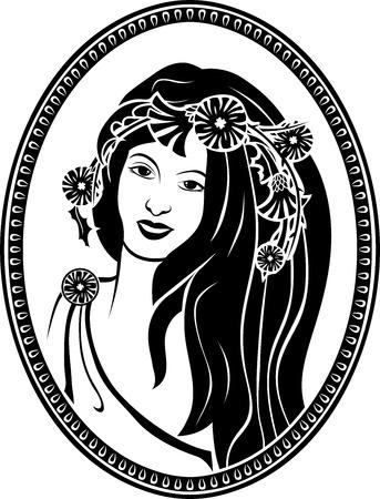 Medallion vignette,  portrait of a girl in a wreath, black stencil Illustration
