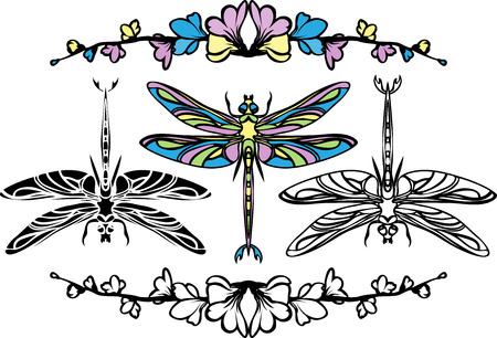 Set dragonflies, color, stencil and black variants Vector