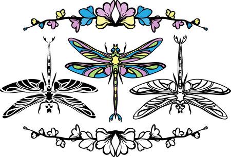 Set dragonflies, color, stencil and black variants Illustration