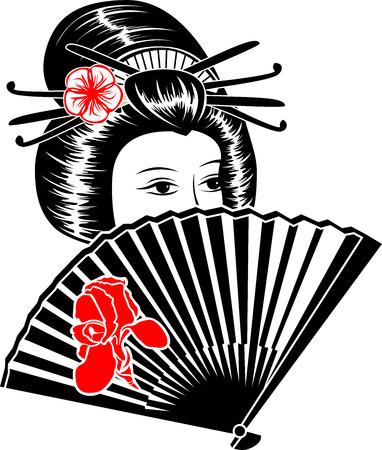 style: Portrait der japanischen Mädchen mit Fan Illustration