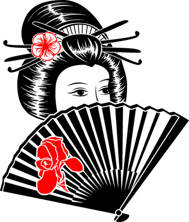 Portrait of Japanese girl with fan Vector