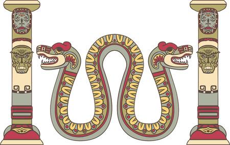 quetzalcoatl: Aztec god as a snake between columns, colored illustration