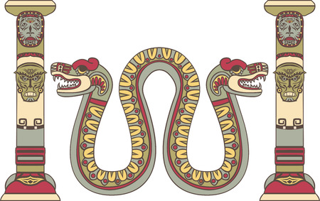 Aztec god as a snake between columns, colored illustration
