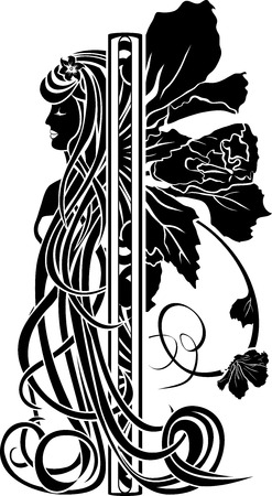 Decorative element in the art nouveau style, stencil for design  Girl with long hair and flower Vector