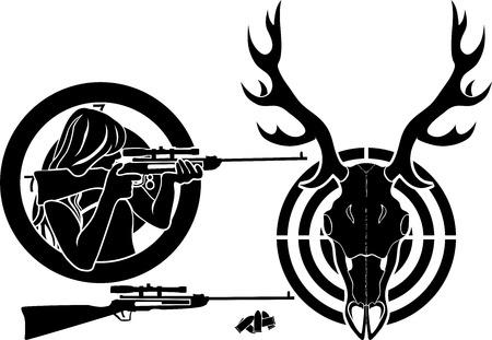 deer hunter: Isolated stencil symbol set for deer hunting, target, deer skull and girl with a rifle Illustration