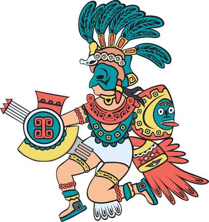 Aztec god, color version, cartoon style