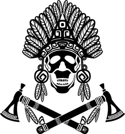 Skull in Indian headdress and crossed tomahawks