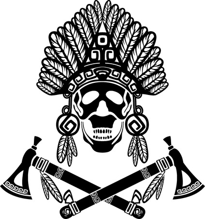warrior tribal tattoo: Skull in Indian headdress and crossed tomahawks
