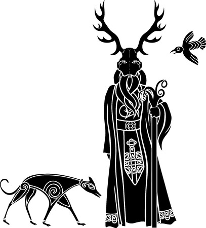 Druid with ritual mask, wolf and a bird, Celtic style Illustration