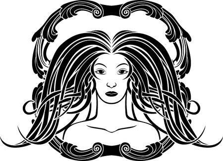 Girl portrait in the Art Nouveau style, black framed stencil Vector