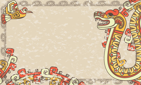 quetzalcoatl: Horizontal background in the Aztec style, snake and bird, second variant