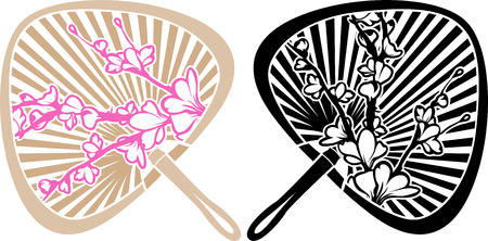 Japanese fan with cherry blossoms, the two versions