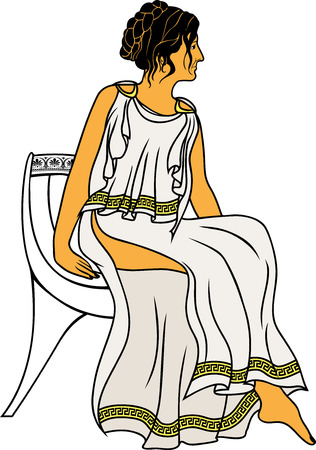 greco roman: Ancient Greek woman sitting on a chair colored variant