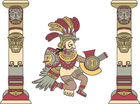 Azteekse god tussen de kolommen, gekleurde illustratie
