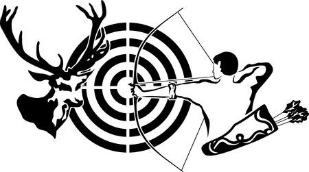 Op jacht naar herten, boogschutter en doel herten, zwarte stencil