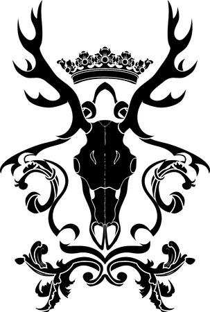 deer skull: Emblem, heraldic symbol with deer skull and crown, stencil Illustration