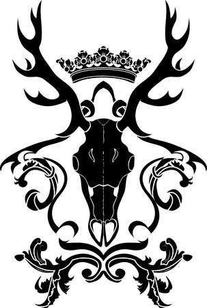 Emblem, heraldic symbol with deer skull and crown, stencil Illustration