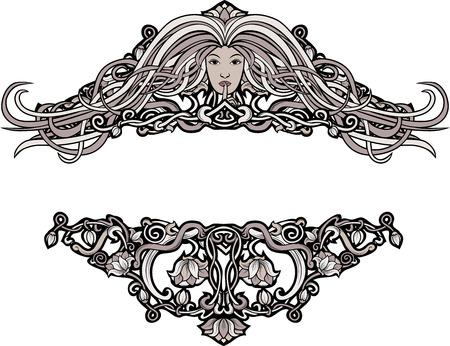 stile liberty: Bordi larghi in stile retrò motivo floreale e una ragazza