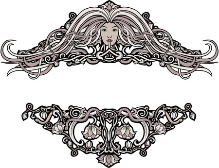 art nouveau border: Wide borders in retro style floral pattern and a girl