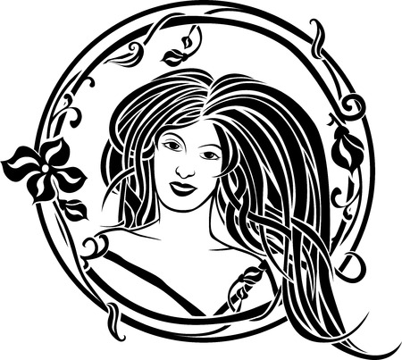 Girl portrait in the Art Nouveau style, black screen in circular frame Vector