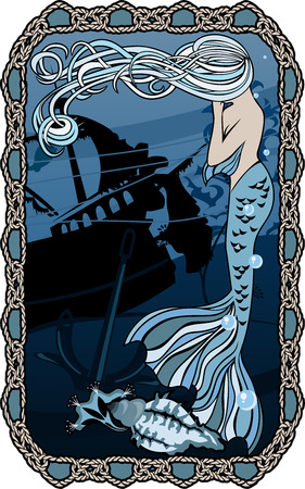 Marine-Hintergrund, Postkarte mit Rahmen aus Knoten, Meerjungfrau zu weinen auf den Hintergrund des gesunkenen Schiffes