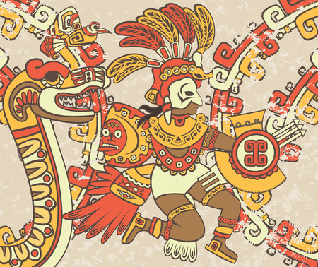 Bright background in the Aztec style, Quetzalcoatl, the feathered serpent and bird