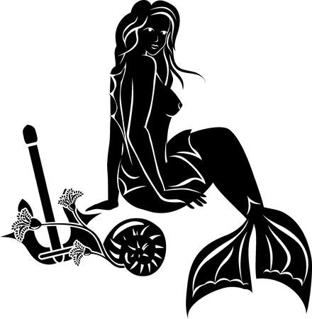 Sitting mermaid with long hair, black stencil Vector