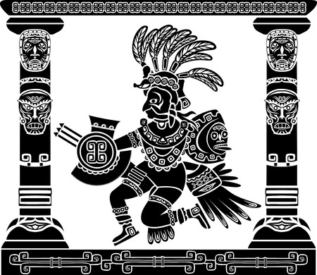 Aztec god Quetzalcoatl Native American Vector