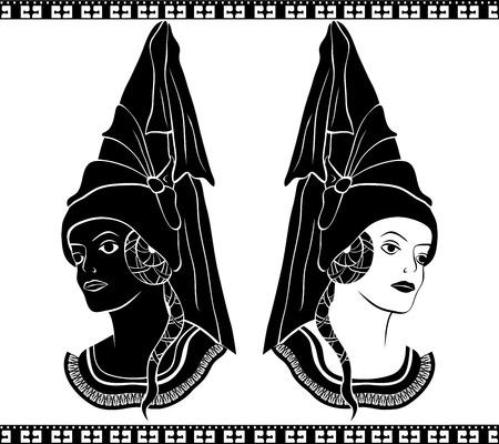 Ladies in medieval hats, stencil, second varant