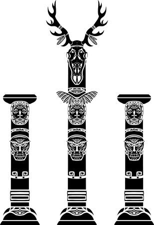 totem: M�t tot�mique avec un cr�ne de cerf et masques indiens