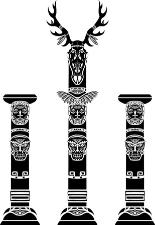 Totem pole with a deer skull and Indian masks Vector