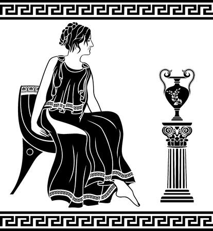 toga: Ancient Greek woman sitting on a chair, black stencil Illustration