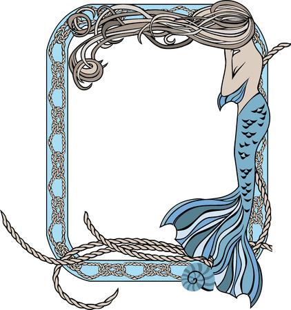 Zee frame met zeemeermin en knopen, kleur illustratie