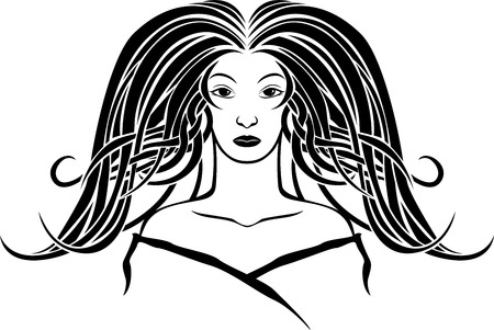 Girl portrait in the Art Nouveau style, second variant Vector