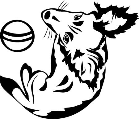 variant: Cute dog with a ball, black stencil, second variant Illustration