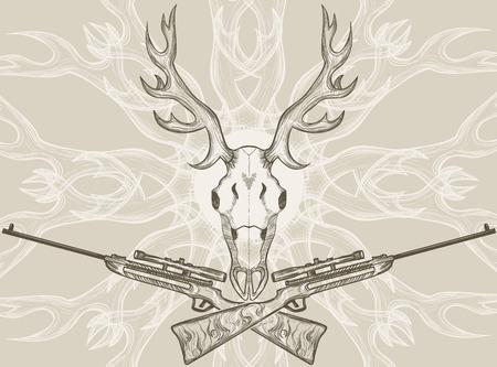 deer hunter: Deer skull and crossed rifles, graphic style Illustration